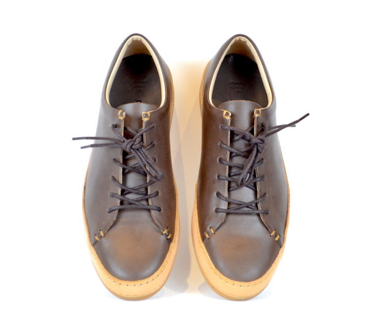 bb2e74ca3fc588 Vegetable Tanned Brown Leather Sneakers by Butts and Shoulders