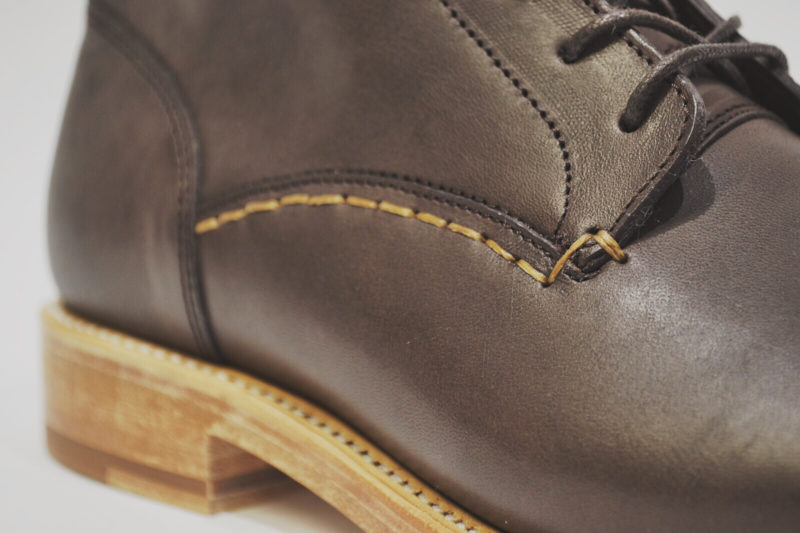 Handstitching on the Brown Leather Boots