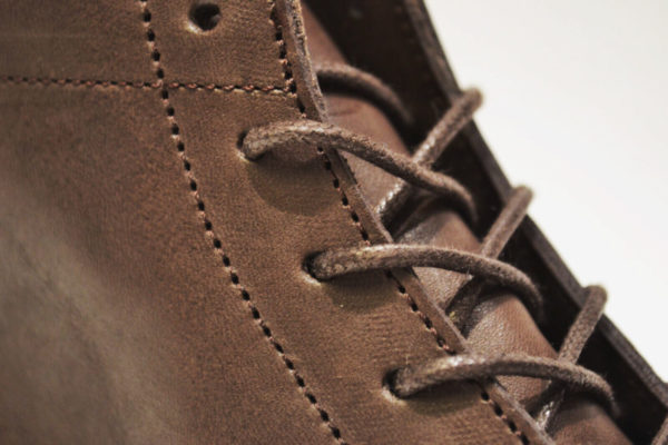 Clean eyelets for laces on the brown boots