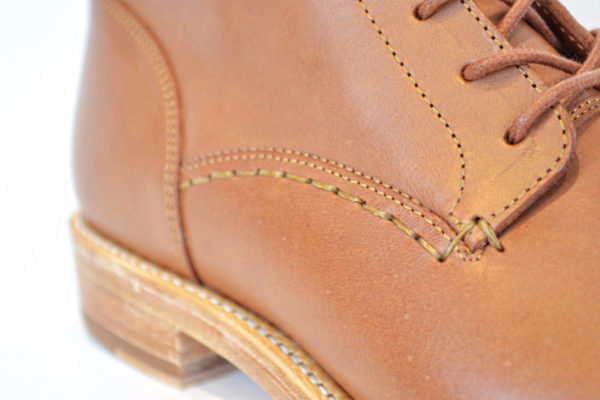 Handstitching on Cognac Vegetable Tanned Leather Boots