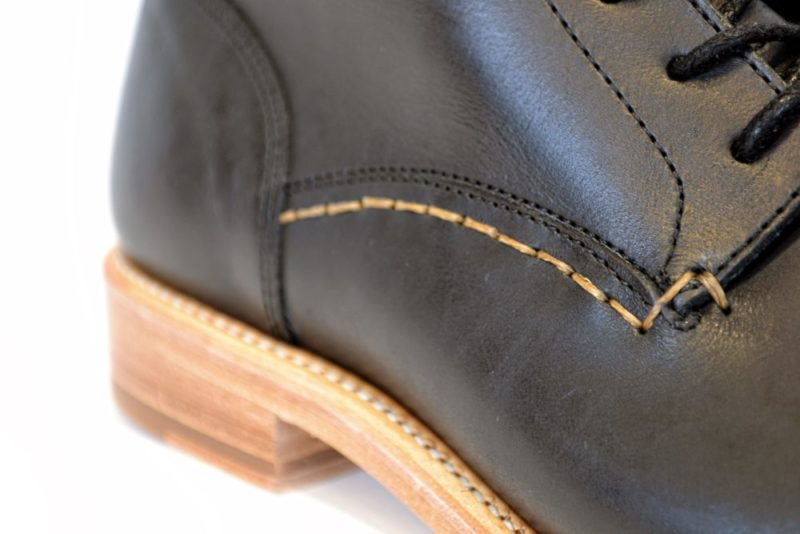 Handstitching on our Black Leather Boots