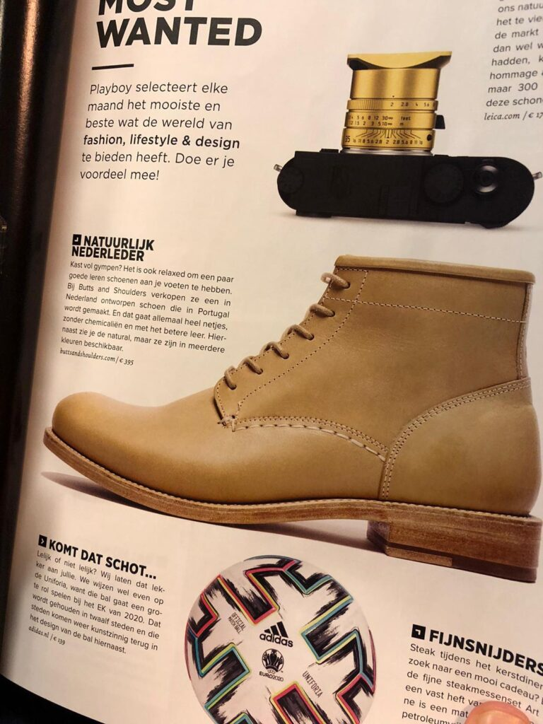 Classic Natural Boots in Playboy Magazine together with Leica camera and Adidas soccer ball