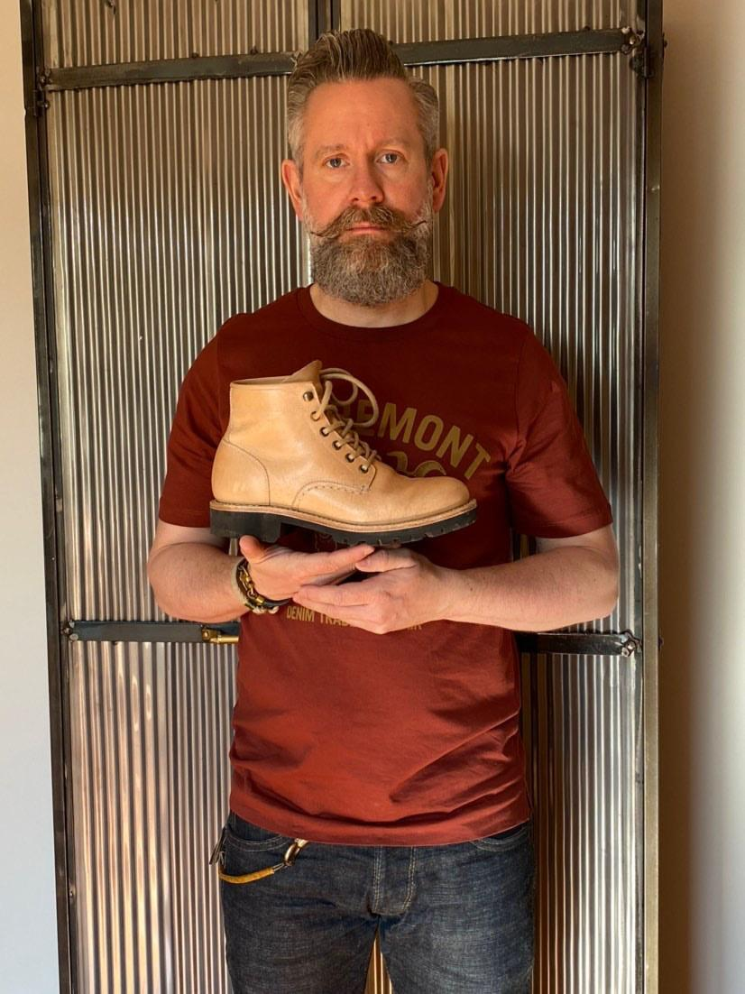 Nils of Ende Denim with Worker Boots